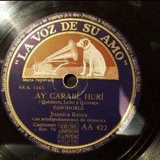 Discos de pizarra: DISCO 78 RPM - JUANITA REINA - AY CARABÍ, HURÍ - PIZARRA. Lote 88794324