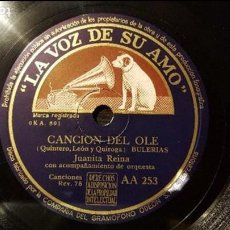 Discos de pizarra: DISCO 78 RPM - JUANITA REINA - BULERÍAS - CANCIÓN DEL OLE - PIZARRA. Lote 88796104