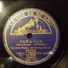 Discos de pizarra: DISCO 78 RPM - CONCHITA PIQUER - DOÑA LUZ - PIZARRA. Lote 88797928