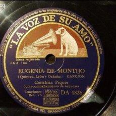 Discos de pizarra: DISCO 78 RPM - CONCHITA PIQUER - EUGENIA DE MONTIJO - PIZARRA. Lote 88799056