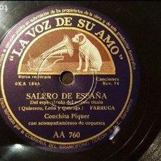 Discos de pizarra: DISCO 78 RPM - CONCHITA PIQUER - FARRUCA - SALERO DE ESPAÑA - PIZARRA. Lote 88799660