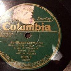 Discos de pizarra: DISCO 78 RPM - AMALIA MOLINA - SEVILLANAS CORRALERAS - PIZARRA. Lote 88801524