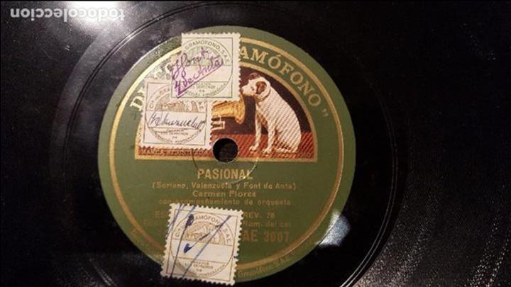 DISCO 78 RPM - CARMEN FLORES - PASIONAL - PIZARRA (Música - Discos - Pizarra - Flamenco, Canción española y Cuplé)