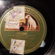 Discos de pizarra: DISCO 78 RPM - CARMEN FLORES - PASIONAL - PIZARRA. Lote 88917512