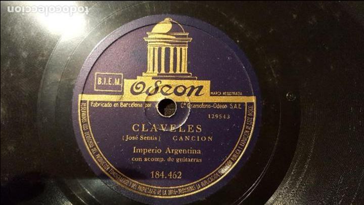 DISCO 78 RPM - IMPERIO ARGENTINA - CLAVELES - PIZARRA (Música - Discos - Pizarra - Flamenco, Canción española y Cuplé)