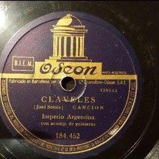 Discos de pizarra: DISCO 78 RPM - IMPERIO ARGENTINA - CLAVELES - PIZARRA. Lote 88920652