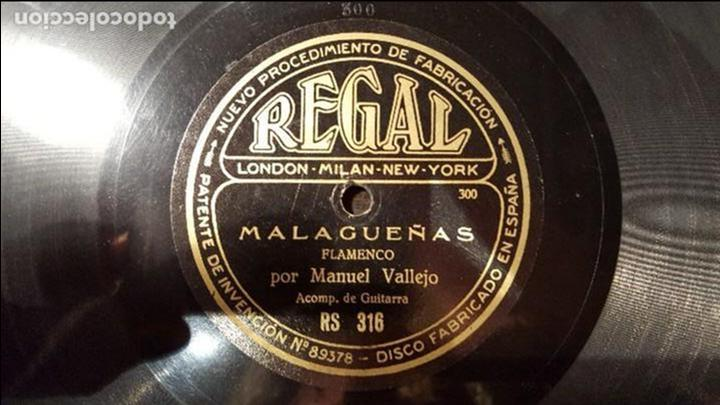DISCO 78 RPM - MANUEL VALLEJO - MALAGUEÑAS - PIZARRA (Música - Discos - Pizarra - Flamenco, Canción española y Cuplé)