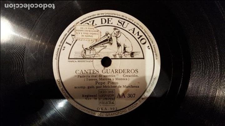 DISCO 78 RPM - PEPE PINTO - MELCHOR DE MARCHENA - CANTES GUARDEROS - PIZARRA (Música - Discos - Pizarra - Flamenco, Canción española y Cuplé)