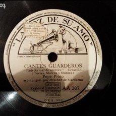 Discos de pizarra: DISCO 78 RPM - PEPE PINTO - MELCHOR DE MARCHENA - CANTES GUARDEROS - PIZARRA. Lote 89069908