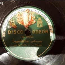 Discos de pizarra: DISCO 78 RPM - RUBIA DE LAS PERLAS - SEGUIDILLAS GITANAS - PIZARRA. Lote 89070848