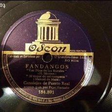 Discos de pizarra: DISCO 78 RPM - CANALEJAS DE PUERTO REAL - FANDANGOS - PIZARRA. Lote 89071368