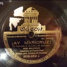 Discos de pizarra: DISCO 78 RPM - CANALEJAS DE PUERTO REAL - BULERÍAS - ¡AY MARICRUZ! - PIZARRA. Lote 89072400