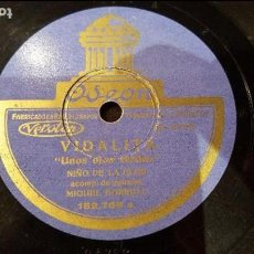 Discos de pizarra: DISCO 78 RPM - NIÑO DE LA FLOR - MIGUEL BORRULL - VIDALITA - PIZARRA. Lote 89073568