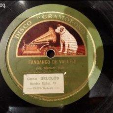 Discos de pizarra: DISCO 78 RPM - MANUEL VALLEJO - M. BORRULL - FANDANGO DE VALLEJO - PIZARRA. Lote 89074568