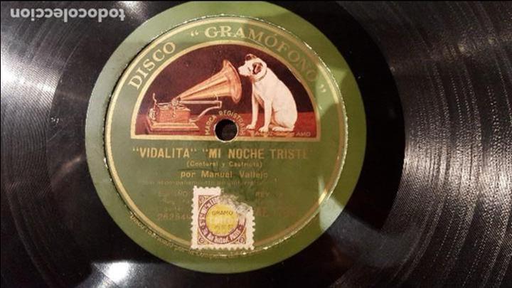 DISCO 78 RPM - MANUEL VALLEJO - VIDALITA - MI NOCHE TRISTE - PIZARRA (Música - Discos - Pizarra - Flamenco, Canción española y Cuplé)