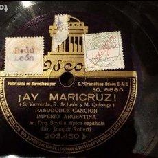 Discos de pizarra: DISCO 78 RPM - IMPERIO ARGENTINA - ¡AY MARICRUZ! - PIZARRA. Lote 89077884