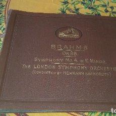 Discos de pizarra: ALBUM DE 7 DISCOS DE PIZARRA, BRAHMS 0P.98 SYMPHONY Nº 4 IN E MINOR,HIS MASTER´S VOICE.. Lote 89094424
