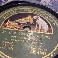 Discos de pizarra: EL U Y EL DO DISCO DE PIZARRA JOTAS. Lote 90651650