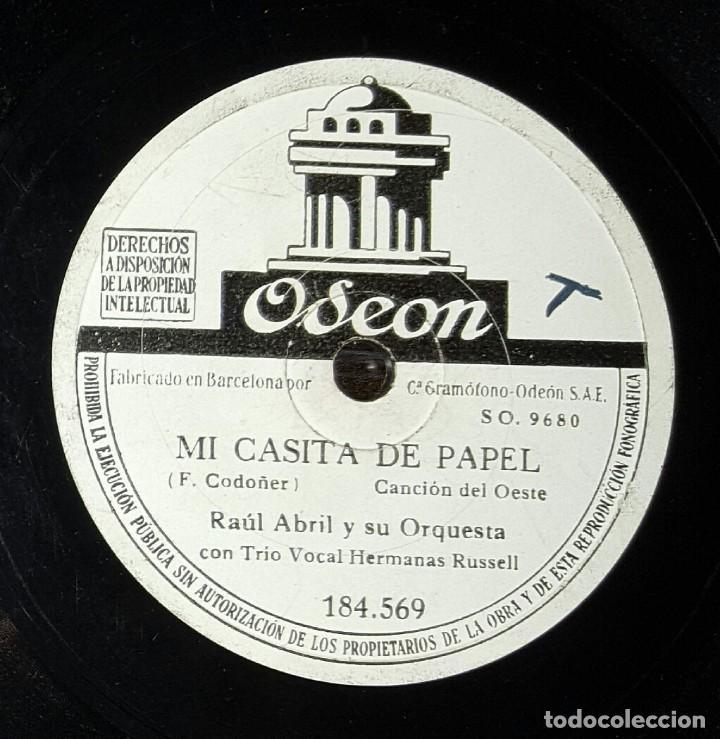 DISCO 78 RPM - RAÚL ABRIL - HERMANAS RUSSELL - MI CASITA DE PAPEL - PIZARRA (Música - Discos - Pizarra - Solistas Melódicos y Bailables)