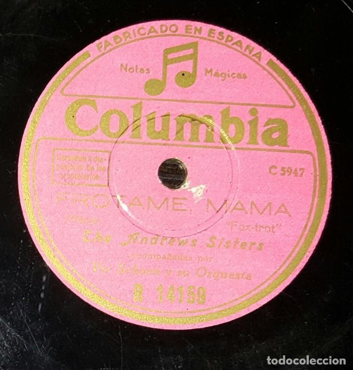 DISCO 78 RPM - THE ANDREWS SISTERS - FRÓTAME, MAMÁ - PIZARRA (Música - Discos - Pizarra - Solistas Melódicos y Bailables)
