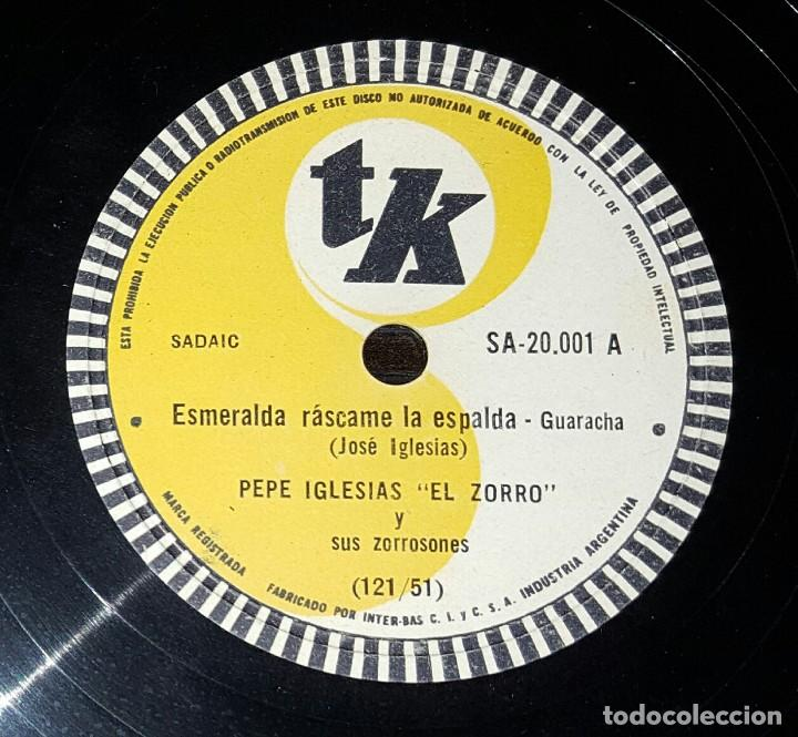DISCO 78 RPM - PEPE IGLESIAS EL ZORRO - ESMERALDA RÁSCAME LA ESPALDA - PIZARRA (Música - Discos - Pizarra - Solistas Melódicos y Bailables)