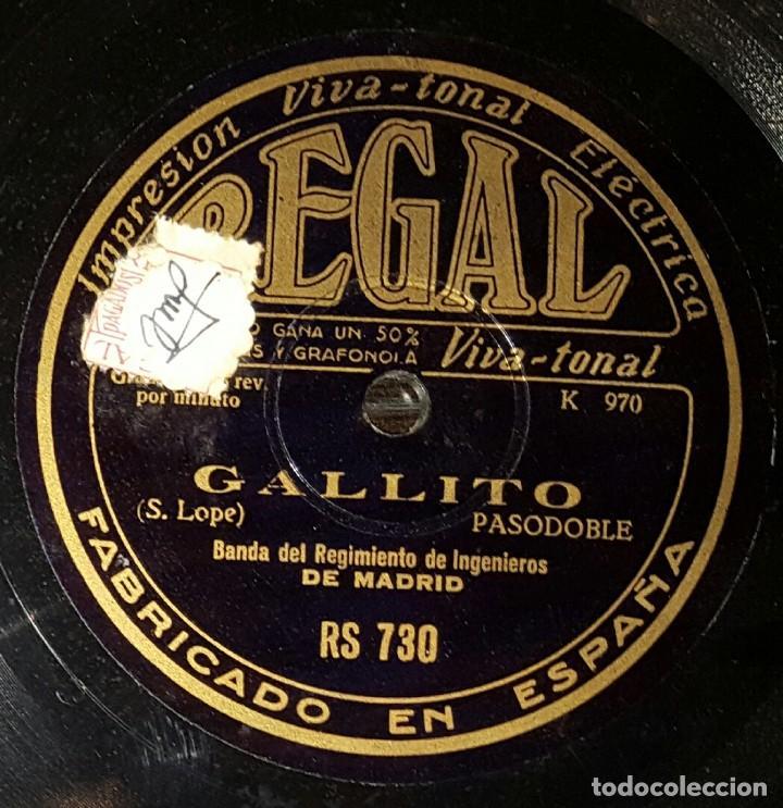 DISCO 78 RPM - BANDA REGIMIENTO INGENIEROS DE MADRID - GALLITO - PIZARRA (Música - Discos - Pizarra - Solistas Melódicos y Bailables)