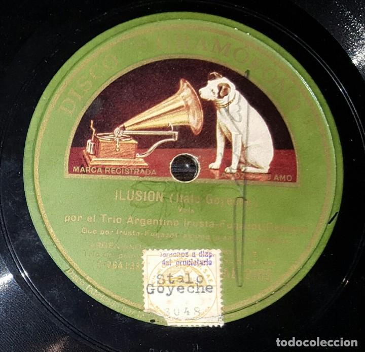 DISCO 78 RPM - TRIO IRUSTA FUGAZOT DEMARE - ILUSION - PIZARRA (Música - Discos - Pizarra - Solistas Melódicos y Bailables)
