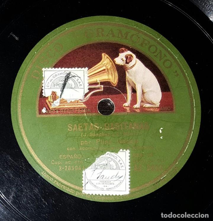 DISCO 78 RPM - PILAR GARCÍA - SAETAS GADITANAS - PIZARRA (Música - Discos - Pizarra - Flamenco, Canción española y Cuplé)
