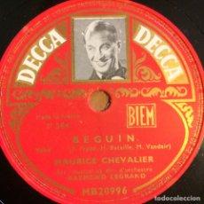 Discos de pizarra: DISCO PIZARRA DE MAURICE CHEVALIER.78 RPM DECCA.BEGUIN. Lote 90860583