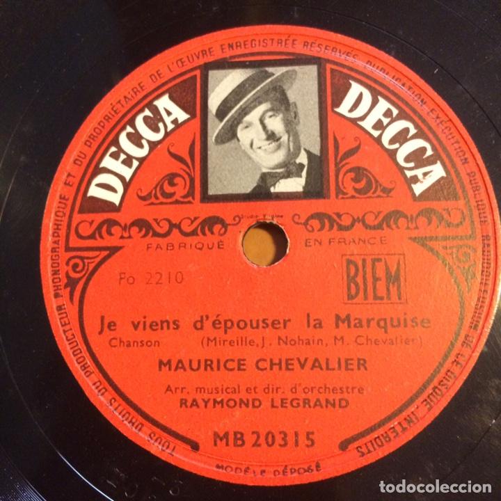 DISCO PIZARRA DE MAURICE CHEVALIER.78 RPM DECCA LE TUEUR AFFAME (Música - Discos - Pizarra - Bandas Sonoras y Actores )