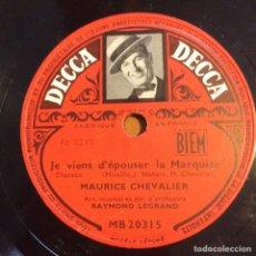 Discos de pizarra: DISCO PIZARRA DE MAURICE CHEVALIER.78 RPM DECCA LE TUEUR AFFAME. Lote 90861082