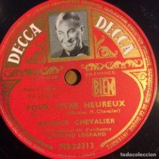 Discos de pizarra: DISCO PIZARRA DE MAURICE CHEVALIER.78 RPM DECCA FOLIES BERGERE. Lote 90861324