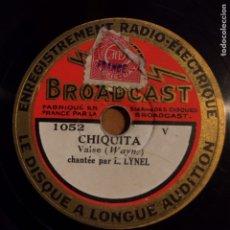 Discos de pizarra: DISCO PIZARRA 78 RPM 20 CM.BROADCAST RADIO ELECTRIQUE .FRANCIA. Lote 90865239