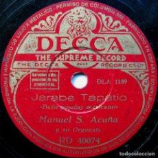 Discos de pizarra: MANUEL S. ACUÑA Y SU ORQUESTA - JARABE TAPATIO / LA ZANDUNGA - DECCA 1948 BPY. Lote 90977595