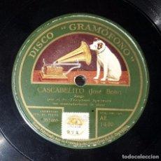 Discos de pizarra: DISCO 78 RPM - FRANCISCO SPAVENTA - CASCABELITO - TANGO - PIZARRA. Lote 91388990
