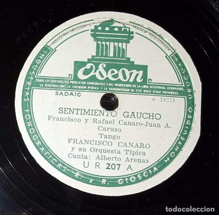 DISCO 78 RPM - FRANCISCO CANARO - ALBERTO ARENAS - SENTIMIENTO GAUCHO - PIZARRA (Música - Discos - Pizarra - Solistas Melódicos y Bailables)