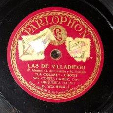 Discos de pizarra: DISCO 78 RPM - CORITA GÁMEZ - LAS DE VILLADIEGO - PIZARRA. Lote 91391685