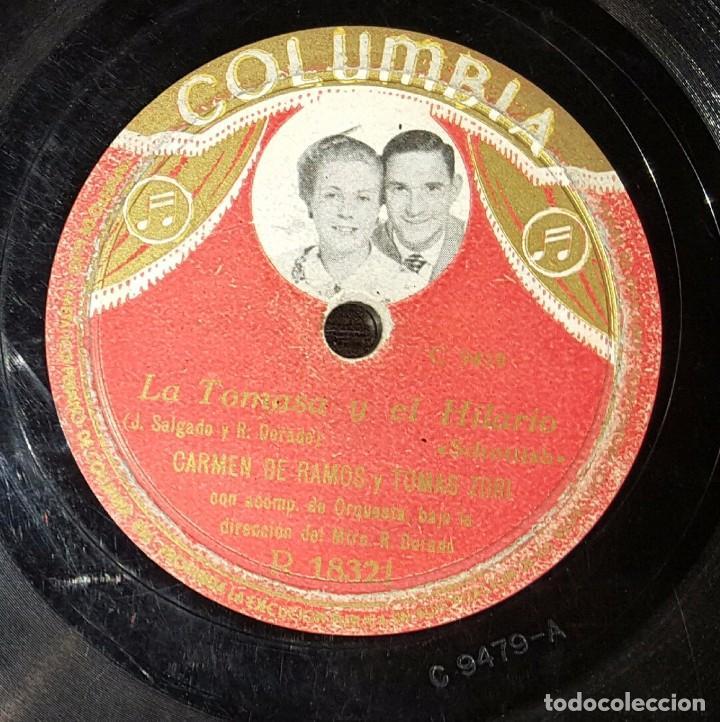 DISCO 78 RPM - CARMEN DE RAMOS - TOMÁS ZORI - LA TOMASA Y EL HILARIO - PIZARRA (Música - Discos - Pizarra - Flamenco, Canción española y Cuplé)