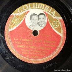 Discos de pizarra: DISCO 78 RPM - CARMEN DE RAMOS - TOMÁS ZORI - LA TOMASA Y EL HILARIO - PIZARRA. Lote 91392365