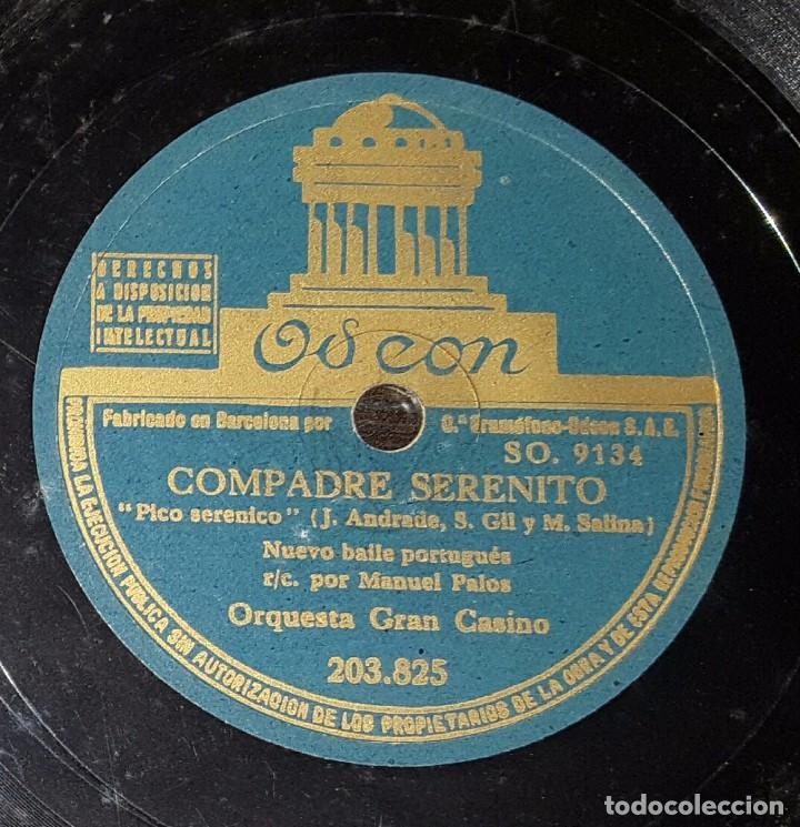DISCO 78 RPM - ORQUESTA GRAN CASINO - MANUEL PALOS - PICO SERENICO - PIZARRA (Música - Discos - Pizarra - Solistas Melódicos y Bailables)