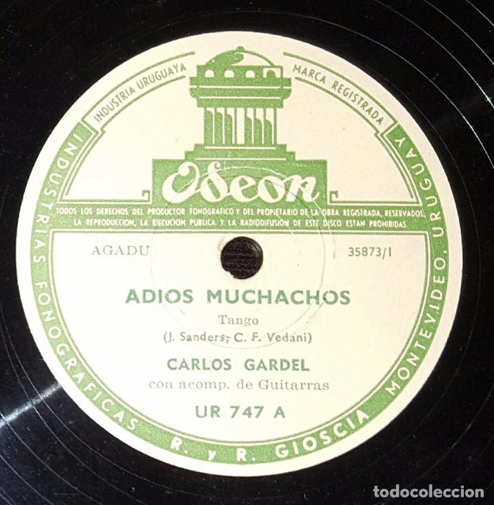 DISCO 78 RPM - CARLOS GARDEL - TANGO - ADIÓS MUCHACHOS - PIZARRA (Música - Discos - Pizarra - Solistas Melódicos y Bailables)
