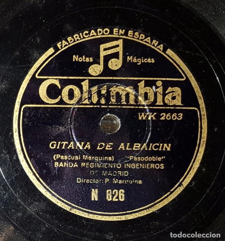 DISCO 78 RPM - BANDA REGIMIENTO INGENIEROS DE MADRID - MARQUINA - GITANA DE ALBAICÍN - PIZARRA (Música - Discos - Pizarra - Clásica, Ópera, Zarzuela y Marchas)