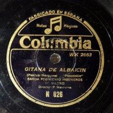 Discos de pizarra: DISCO 78 RPM - BANDA REGIMIENTO INGENIEROS DE MADRID - MARQUINA - GITANA DE ALBAICÍN - PIZARRA. Lote 91394660