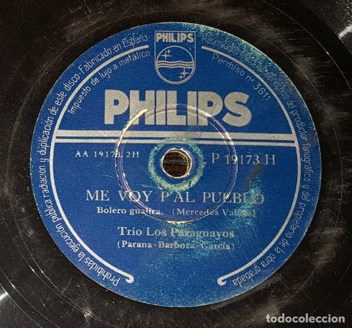 DISCO 78 RPM - TRÍO LOS PARAGUAYOS - ME VOY P´AL PUEBLO - PIZARRA (Música - Discos - Pizarra - Solistas Melódicos y Bailables)