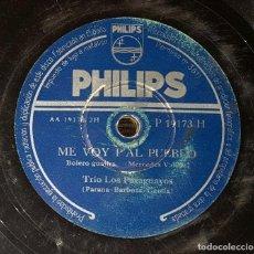 Discos de pizarra: DISCO 78 RPM - TRÍO LOS PARAGUAYOS - ME VOY P´AL PUEBLO - PIZARRA. Lote 91395615