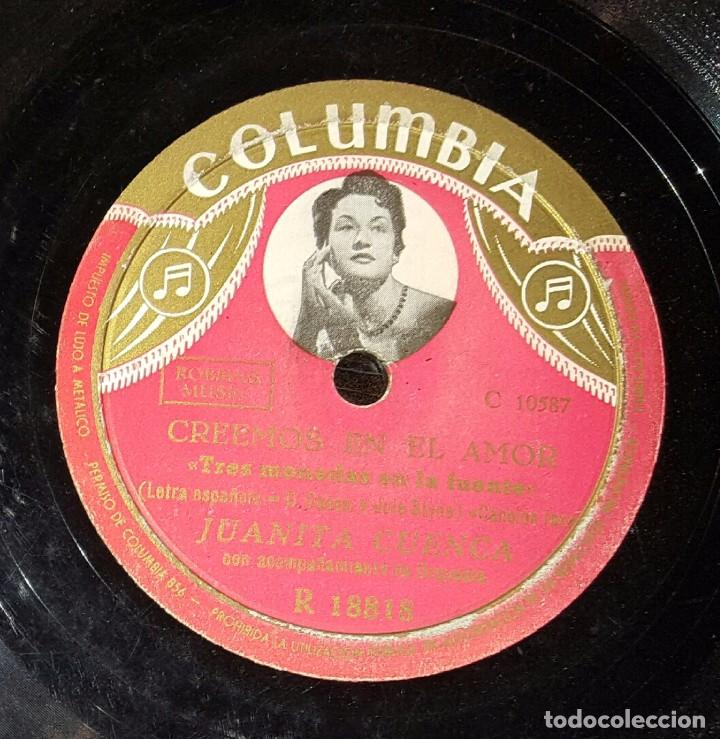 DISCO 78 RPM - JUANITA CUENCA - CREEMOS EN EL AMOR - PIZARRA (Música - Discos - Pizarra - Solistas Melódicos y Bailables)