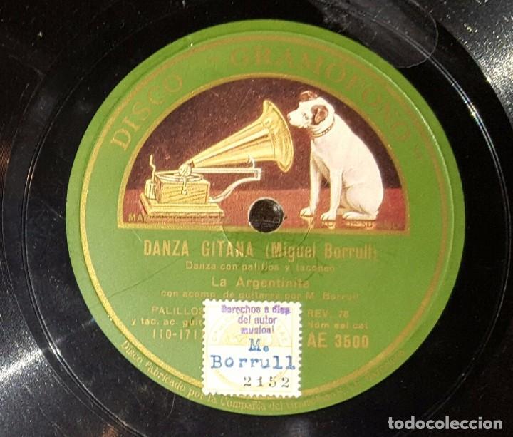 DISCO 78 RPM - LA ARGENTINITA - MIGUEL BORRULL - DANZA GITANA - PIZARRA (Música - Discos - Pizarra - Flamenco, Canción española y Cuplé)