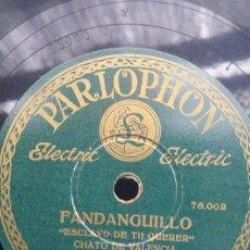 Discos de pizarra: DISCO PIZARRA 78 RPM - CHATO DE VALENCIA & MIGUEL BORRULL (GUITARRA). Lote 91658895