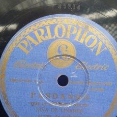 Discos de pizarra: DISCO PIZARRA 78 RPM - NIÑA DE LINARES & MANOLO DE BADAJOZ (GUITARRA). Lote 91661655