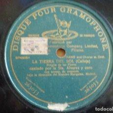 Discos de pizarra: LA TIERRA DEL SOL (PREGON DE LAS FLORES) CANTADO POR LA SRTA ALVAREZ. Lote 92003305